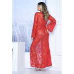 7116 Long Lace Robe Color Red