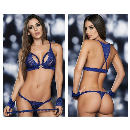 8218 Four Piece Bra Set Color Blue