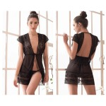 7196 Robe with Matching G-String Lingerie Set Color Black
