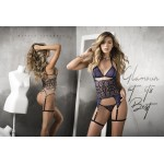 7198 Three Piece Garter Lingerie Set Color Nude-Black