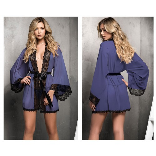 7199 Robe with Matching G-String Lingerie Set Color Blue-Black