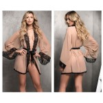 7199 Robe with Matching G-String Lingerie Set Color Nude-Black