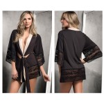 7200 Robe with Matching G-String Lingerie Set Color Black