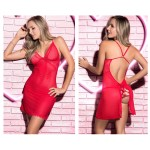7204 Babydoll with Matching G-String Lingerie Set Color Red