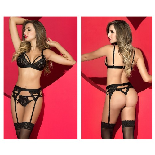 8221 Three Piece Garters Set Color Black