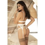 8221 Three Piece Garters Set Color Ivory