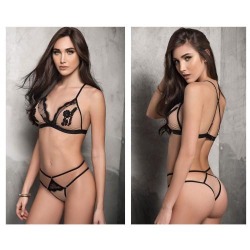 8321 Two Piece Lingerie Set Color Nude-Black