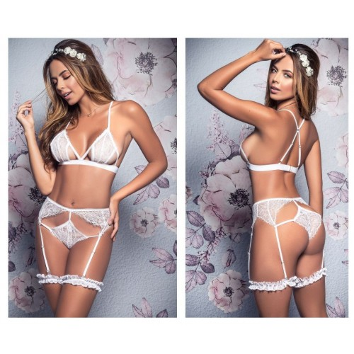 8357 Two Piece Bridal Set with Leg Garters Color White