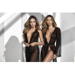 8379 Long Lace Black Robe With Matching G-String