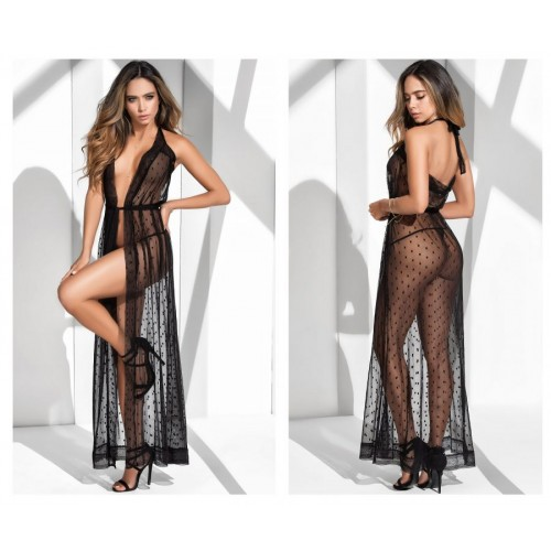 8380 Long Lace Robe With Matching G-String Color Black