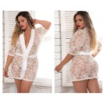 7115X Lace Robe with Matching G-String Color Ivory