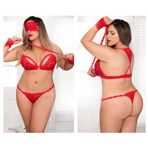 8218X Four Piece Bra Set Color Red