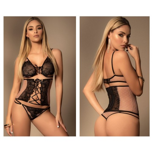 8428 Three Piece Set Color Nude-Black
