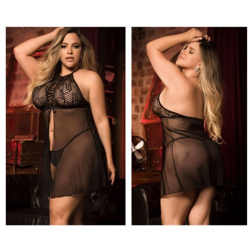 8442X Babydoll with Matching G-String Color Black