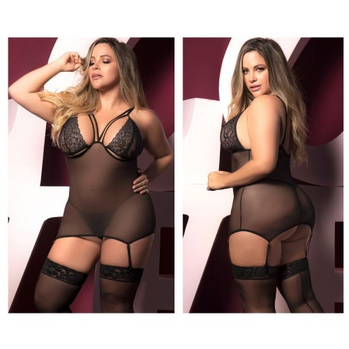 8465X Babydoll with Garter Straps and Matching G-String Color Black