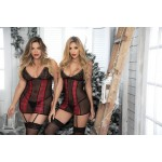Holiday Plaid Babydoll with Garter Straps and Matching G-String
