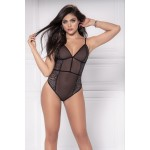 8475 Sheer Lace Bodysuit Color Black
