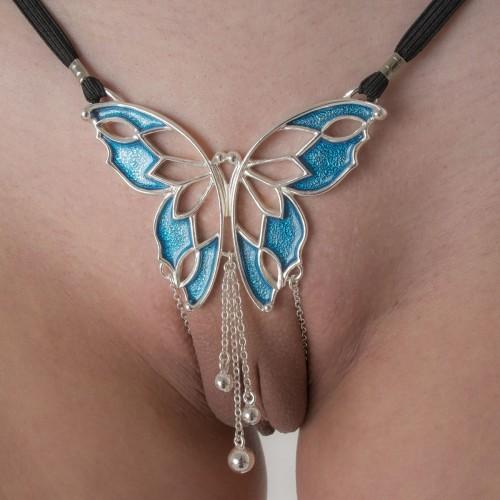 Women's Butterfly G-String in Silver with Pleasure Pendants