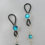 Dangling Silver Non-Piercing Nipple Ring Jewelry with Blue Crystals