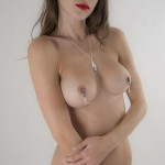 Caressing Hands Non-Piercing Nipple Necklace Breast Chain in Silver