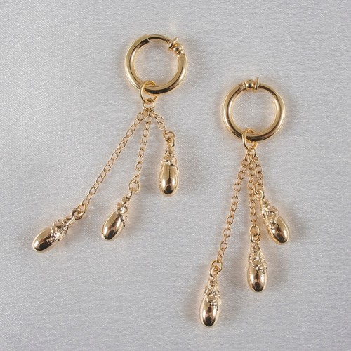 Emotions Gold Drop Pendant Charms Hoops Labia Jewelry Rings
