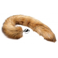 Extra Long Brown Mink Tail Metal Anal Plug