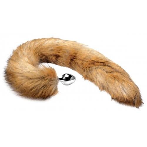 Extra Long Brown Mink Tail Metal Anal Plug