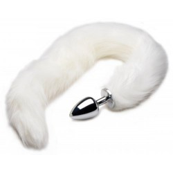 Extra Long Arctic White Mink Tail Metal Anal Plug