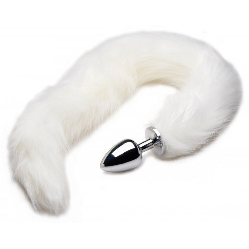 Extra Long Arctic White Mink Tail Metal Anal Plug