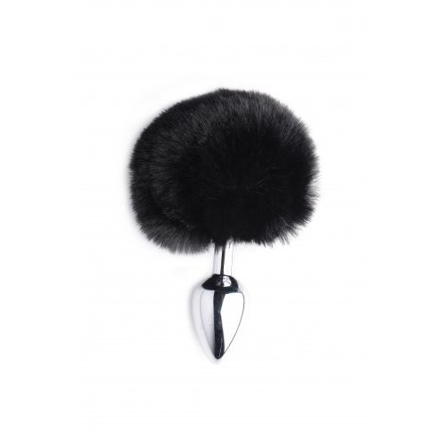 Fluffy Black Bunny Tail Anal Plug