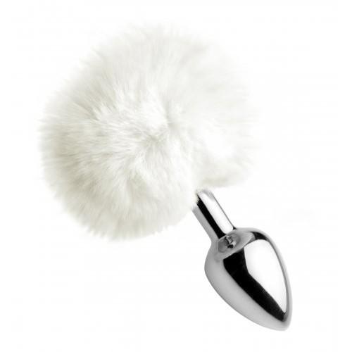 Fluffy White Bunny Tail Anal Plug