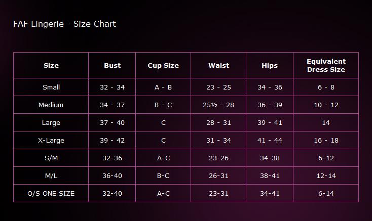 FAF Lingerie - Size Chart
