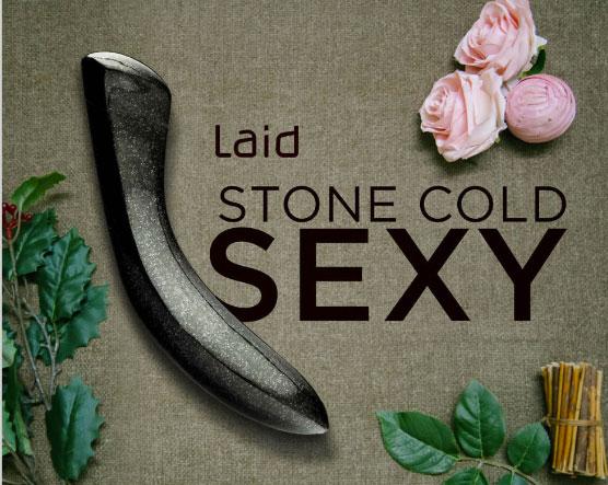 Laid Black Granite Stone Dildo & Stone Butt Plug